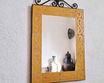 Engraved Yellow Mosaic Wall Mirror - Wall Mirror - CUSTOMIZABLE Wall / Floor Mirror - ( Indoors & Outdoors ) Mirror - Handmade Mosaic Mirror