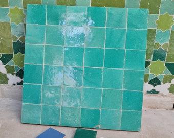"""Green Terracotta Zellije """"36 50 x 50mm Tiles"""", 14"""" x 14"""" Pannel - Handmade Bathroom Kitchen Tiles Straight Edge Ceramic Singular Subway Tile"""