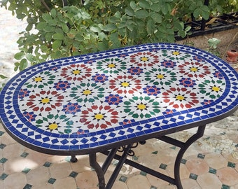 CUSTOMIZABLE Oval Mosaic Table - Crafts Mosaic Table - Mosaic Table Art - Mid Century Zellije Table - Handmade For Outdoor & Indoor - GIFT