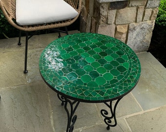 CUSTOMIZABLE Emerald Green Mosaic Table - Mosaic Table Art - Mid Century Mosaic Table - Handmade Coffee Table For Outdoor & Indoor