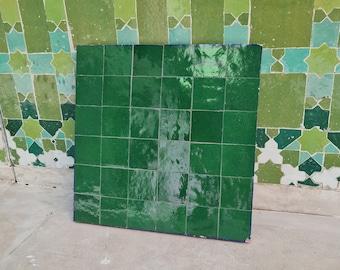 """Emerald Green Terracotta Zellije """"36 50 x 50mm Tiles"""" 14"""" x 14"""" Pannel, Handmade Bathroom Kitchen Tiles Straight Edge Ceramic Singular Tile"""