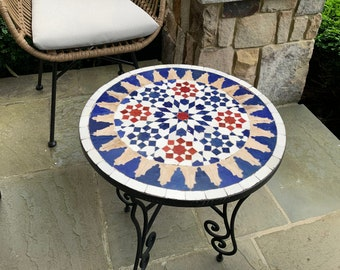 CUSTOMIZABLE Engraved Blue Mosaic Table - Crafts Mosaic Table - Mid Century Mosaic Table - Handmade Coffee Table For Outdoor & Indoor