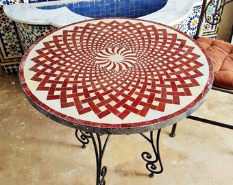 Handmade Outdoor Coffee Table - Complicated Mosaic Pattern Red Table - Bistro Table GIFT