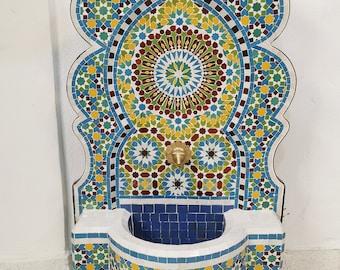 HUGE Garden Patio Rustic Outdoor Wall Water Fountain - Outdoor Indoor Mid Century Fountain - Mosaic Artwork - Handmade Wall Fixable Fountain