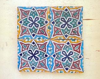 Kitchen, Bathroom Handpainted Zellije 100 x 100mm Tiles Handmade CUSTOMIZABLE Tiles Straight Edge Ceramic Singular Subway Tiles
