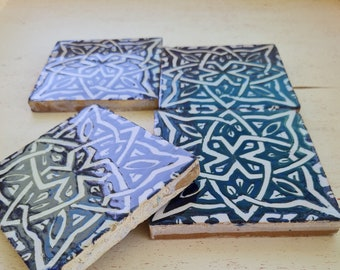 Handpainted Zellige 4x4 Navy Blue Handmade Tiles - CUSTOMIZABLE Tiles for Kitchen Remodeling and Bathroom Projects