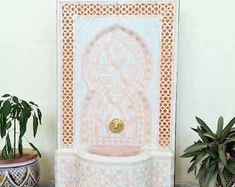 HUGE Rose Gold Garden Patio Rustic Outdoor Wall Water Fountain - Outdoor Indoor Mid Century Fountain - Mosaic Art - Handmade Wall Fountain