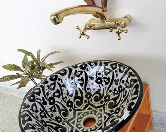 Basin Ceramic Sink + Unlacquered Brass Faucet , CUSTOM Vessel Ceramic Sink & Wall Mount Brass Faucet With Your measurements Remodel Bathroom