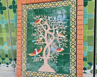 Birds On Engraved Tree Hanging Wall Decor - Mosaic Wall Art - Piece By Piece ART Work - + 300 Tiles - Handmade Wall Mount ART - Wall Decor