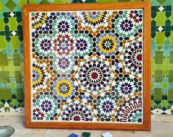 Zellije Mosaic Wall Decor - Mosaic Wall Art - Piece By Piece ART Work - Made From +300 Tiles - Handmade Mosaic Wall Mount ART - Wall Decor