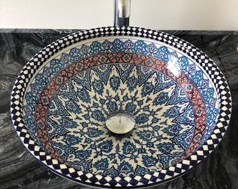 CUSTOMIZABLE Ceramic Vessel & Drop In Sink, Bathroom Ceramic Bowl Sink - Handmade Countertop Basin