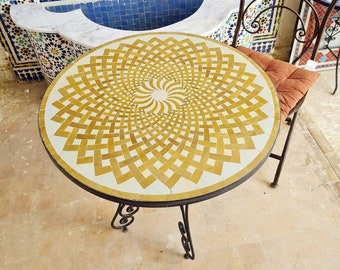 CUSTOMIZABLE Golden Mosaic Table - Crafts Mosaic Table - Mosaic Art - Mid Century Mosaic Table - Handmade Coffee Table For Outdoor & Indoor