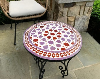 CUSTOMIZABLE Purple and Pink Mosaic Table - Crafts Mosaic Table - Mid Century Mosaic Table - Handmade Coffee Table For Outdoor & Indoor