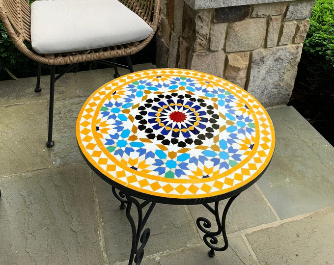 Featured listing image: CUSTOMIZABLE Mosaic Table - Crafts Mosaic Table - Mosaic Table Art - Mid Century Mosaic Table - Handmade Coffee Table For Outdoor & Indoor