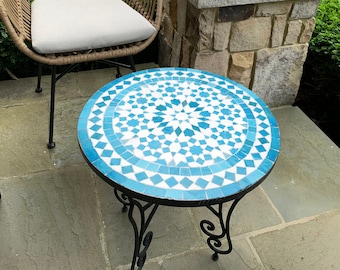 Turquoise Handcrafted Mosaic Table, Indoor & outdoor Bistro Table