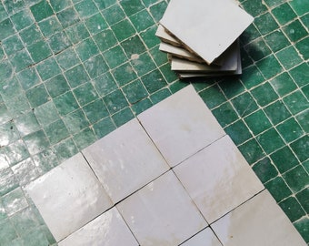 """Ecru White Terracotta  4"""" x 4"""" Tiles - Handmade  Bathroom / Kitchen Tiles , Straight Edge Ceramic Singular Subway Tile - Custom For Projects"""