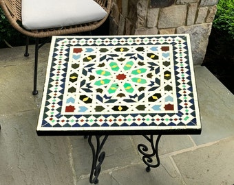 PERSONALIZED Handmade Mosaic Table - Create Your Own Dining / Coffee / Outdoor / Indoor Table - Provide Us With The Colors, Size, Ans Shape