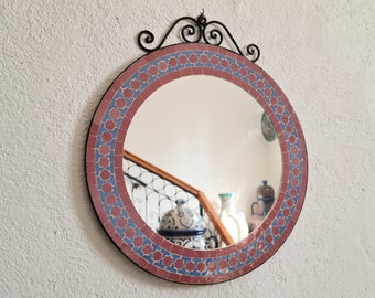 Engraved Mosaic Wall Mirror - Wall Mirror - Hanging Round Wall / Floor Mirror - Indoors & Outdoors Mirror