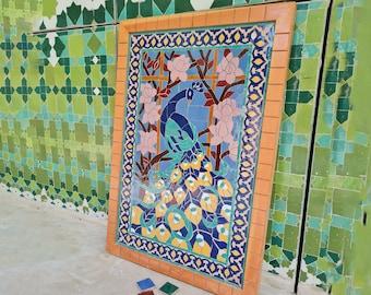 Peacock Hanging Wall Decor - Mosaic Wall Art - Piece By Piece ART Work - Made From +300 Tile - Handmade Mosaic Wall Mount ART - Wall Decor