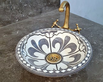 CUSTOMIZABLE Gray & White Ceramic Vessel / Drop In Sink, Bathroom Ceramic Sink Bowl, HandPainted Ceramic Basin, Bathroom Remodeling