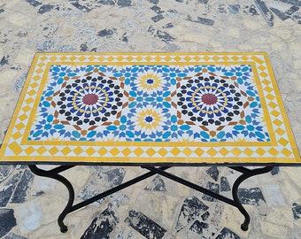 CUSTOMIZABLE Low/High Rectangular Mosaic Table - Crafts Mosaic Table - Mosaic Table Art - Mid Century Zellije Table -  For Outdoor & Indoor