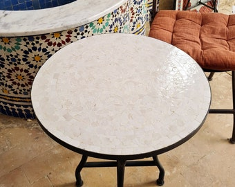 All White Handmade Outdoor Coffee Table - Complicated Mosaic Pattern Off White Table - Bistro Table GIFT