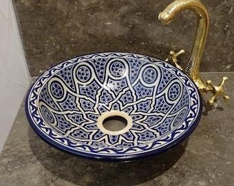 CUSTOMIZABLE Ceramic Vessel / Drop In Sink, Bathroom Ceramic Sink Bowl, HandPainted Ceramic Basin, Bathroom Improvement, Bathroom Remodeling