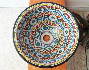 CUSTOMIZABLE Rainbow Ceramic Vessel / Drop In Sink, Bathroom Ceramic Sink Bowl, HandPainted Ceramic Basin, Bathroom Improvement