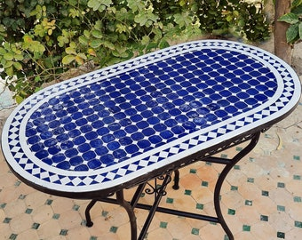 CUSTOMIZABLE Oval Mosaic Table - Crafts Mosaic Table - Blue and White Mid Century Zellije Table - Dining Table For Outdoor & Indoor - GIFT