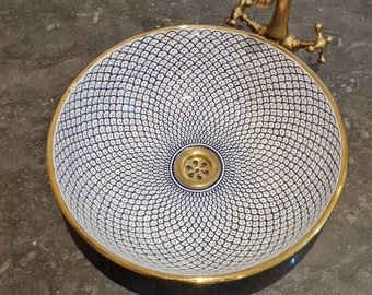 14 Karat Gold & Ceramic Bathroom Vessel - CUSTOMIZABLE 14k Gold Rim Bathroom Sink - Countertop Handmade Basin - Fish Scales Design