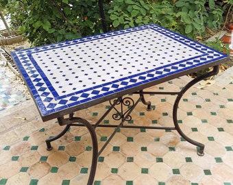 CUSTOMIZABLE Rectangular Mosaic Table - Crafts Mosaic Table - Mosaic Table Art - Mid Century Zellije Table - Handmade For Outdoor & Indoor