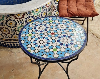 Handmade Outdoor Coffee Table - Complicated Mosaic Pattern Blue Table - Bistro Table GIFT