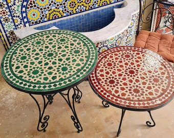 Handmade Outdoor Coffee Table - Complicated Mosaic Pattern Green Table - Bistro Table GIFT