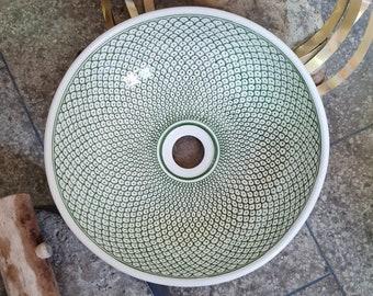 CUSTOMIZABLE Green & White Ceramic Vessel / Drop In Sink, Bathroom Ceramic Sink Bowl, HandPainted Ceramic Basin, Countertop Vessel Sink