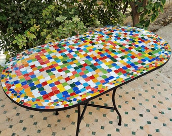 CUSTOMIZABLE Rainbow Oval Mosaic Table - Crafts Mosaic Table - Mid Century Zellije Table - Dining Table For Outdoor & Indoor - GIFT