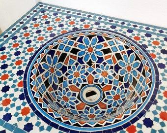 CUSTOMIZABLE Ceramic & Mosaic Wall Mounted Sink / Console Sink , Handmade , Antique Washbasin For Bathroom - Mid Century Style Bathroom Sink