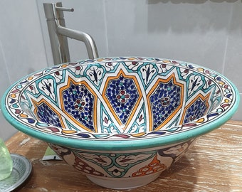 CUSTOMIZABLE Ceramic Vessel / Drop In Sink, Bathroom Ceramic Sink Bowl, HandPainted Ceramic Basin, Countertop Vessel , Bathroom Remodeling