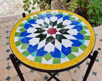 CUSTOMIZABLE Mosaic Table - Crafts Mosaic Table - Moorish star Mid Century Mosaic Table - Handmade Coffee Table For Outdoor & Indoor