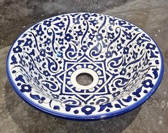 CUSTOMIZABLE Ceramic Vessel / Drop In Sink, Bathroom Ceramic Sink Bowl, HandPainted Ceramic Basin, Dark Blue Rim , Countertop Sink