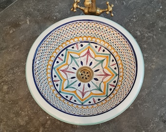 CUSTOMIZABLE Ceramic Vessel sink, Fish Scales Pattern