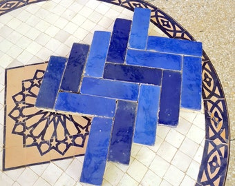 Handmade Zellige 2x6 Navy / Royal Blue Terracotta Tile For Bathroom Remodeling And Kitchen projects