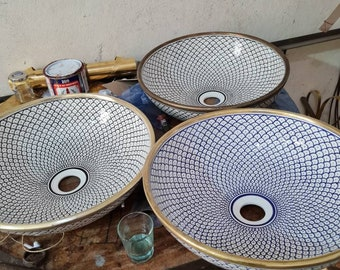 "Brass Rim Ceramic Sink 16"""