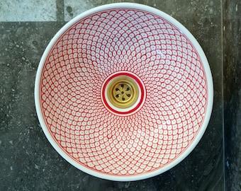 CUSTOMIZABLE Red & White Ceramic Vessel / Drop In Sink, Bathroom Ceramic Sink Bowl, HandPainted Ceramic Basin, Countertop Vessel Sink