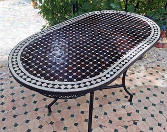 150 x 80 cm Handmade Mosaic Table, Pattern Design As Discussed With Magali