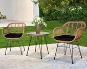 Rattan Chair Set Outdoor Furniture Wicker Chair and Table Boho Patio Rattan Furniture Rattan Coffee Table Set Garden Furniture