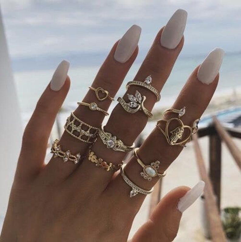 12 Piece Unique Rings Bohemian Knuckle Stacking Ring Set for Women Vintage Ring Set Retro Ring Set Boho Ring Set Stackable Ring Set Gift