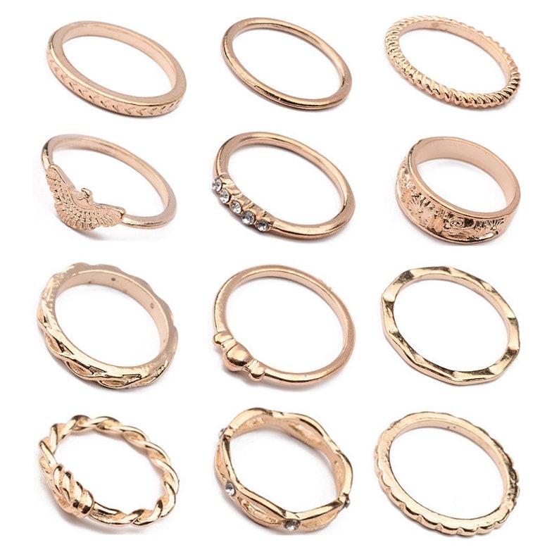 Geometric Ring Set Stacking Ring Midi Ring Dainty Gold Ring Flower Ring Minimalist 12 Gold Ring Set Gold Infinity Ring Heart Ring