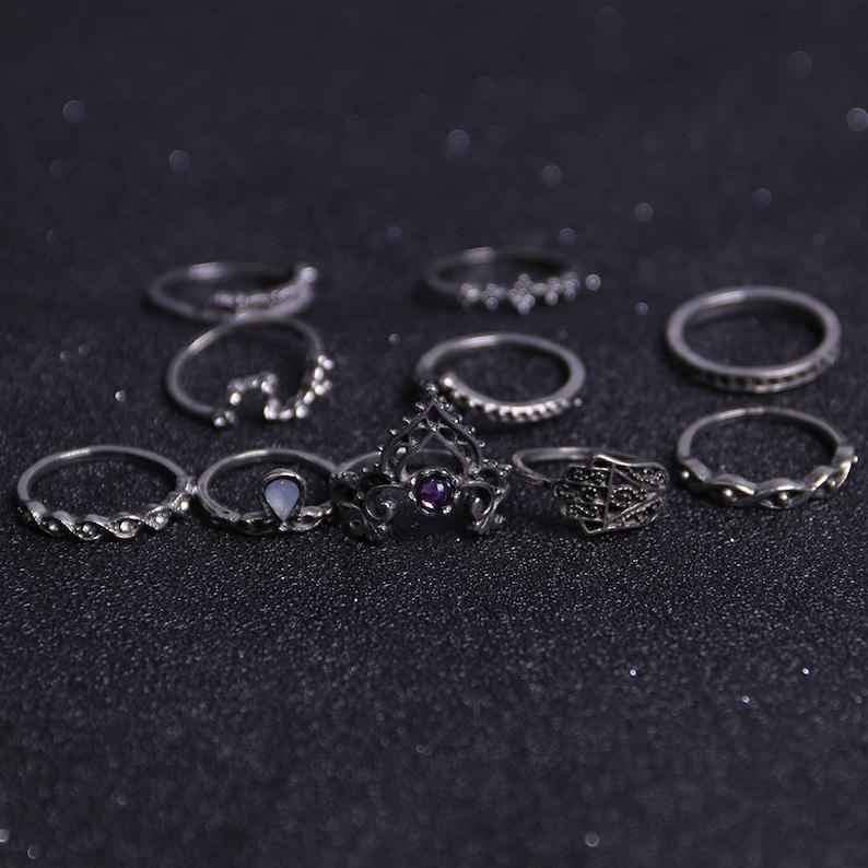 Boho Ring Set Vintage Crystal Boho Ring Set Bohemian Ring Set Bohemian Stack Ring Set Midi Ring Set Beach Jewelry Boho Stackable Ring Set