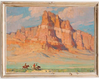 FREE SHIPPING - Vintage Arizona Landscape Oil Painting - Western American Painting- Horse Riding Western Wall Art Print- Grand Canyon Print