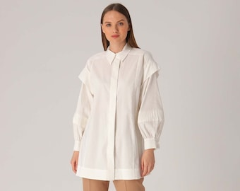 Solid Lantern Sleeve Blouse, White Long Sleeve Shirt, Formal Button Down Blouse, Belted Women's Shirt, Collared Shirt, Ladies Blouse, Modest